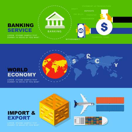 Vector Flat Icons over Banking dienst, Wereldeconomie, Import en Export. Zaken Economische Concepts.