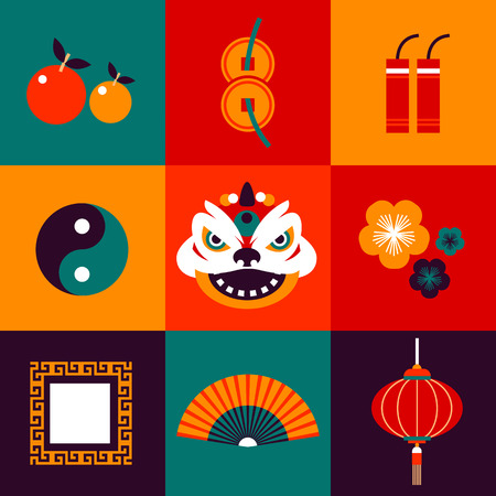Vector Flat Icons Design about China New Year in Various Color. Ilustração
