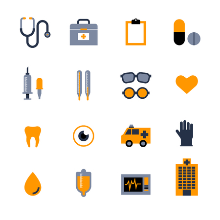 Vector Flat Icons Set about Medical and Stuff in Isolated Background. Vector