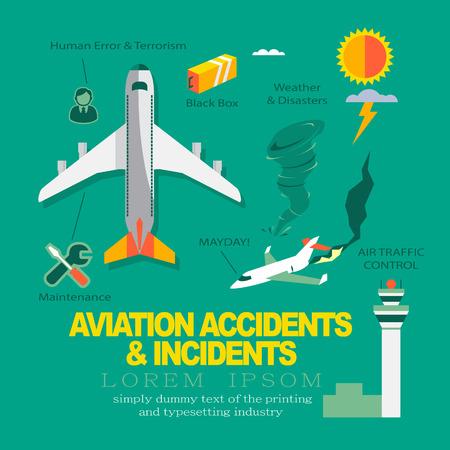 航空事故 & 事件についてベクトル インフォ グラフィック フラット デザイン。