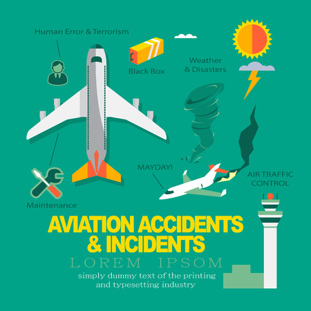accident: Vector Infographics Flat Design about Aviation Accidents & Incidents.