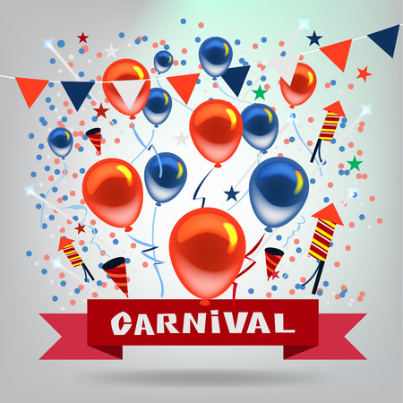 fun festival: Vector Carnival and Objects in Celebration Festive Background.