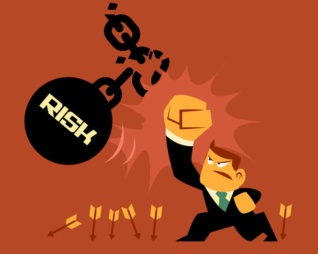 Vector Flat Design Character Businessman fighting Risk and Dangerous Objects, business Concepts.