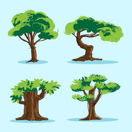 4 of a kind: Vector 4 Form and Kind of Trees Illustration