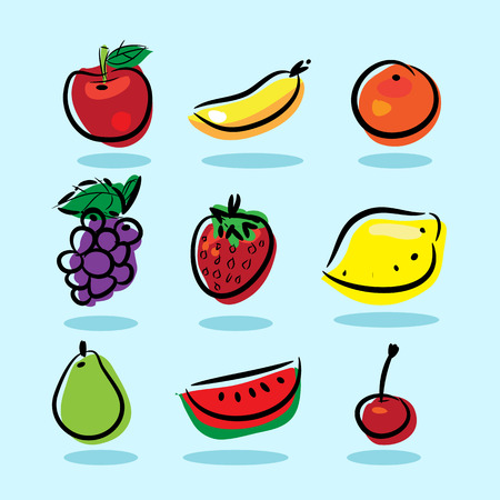 Vector 6 Kind of Fruits, Apple, Banana, Orange, Grape, Strawberry, Lemon, Water Melon, Pear, Cherry, with Shadow