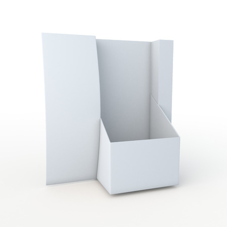 3D Rendering New Design Empty Clean White Leaflet, Brochure Holder in Isolated Background with Work paths Imagens