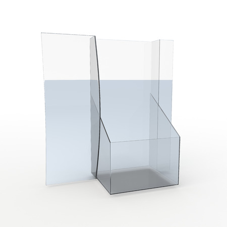 sign holder: 3D Rendering New Design Empty Transparent Acrylic Leaflet, Brochure Holder in Isolated Background with Work paths Stock Photo