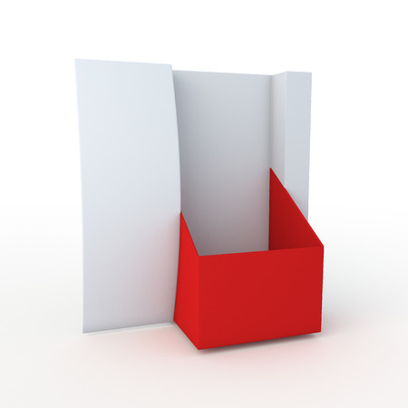 3D Rendering New Design Empty Red and White Leaflet, Brochure Holder in Isolated Background with Work paths photo
