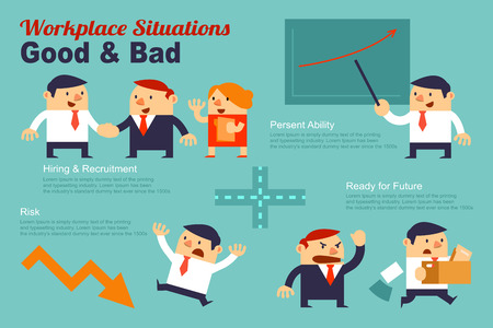 situations: Infographics Workplace Situations Good and Bad present by Business People cartoons.