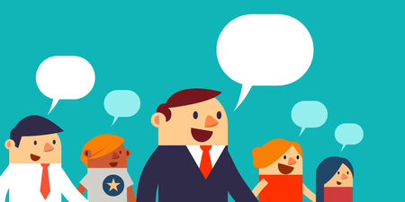 Vector Illustration Business Peoples and Speech Bubbles, Web Banner.