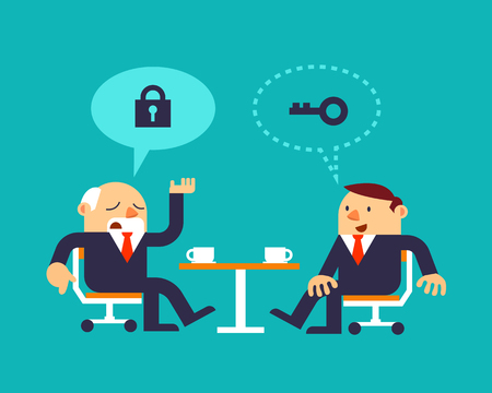 patron: Ilustración vectorial Dos hombres de negocios que discuten sobre la solución o estrategia, conceptos de negocio. Vectores