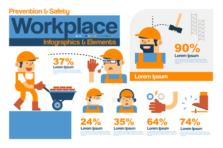 Vector Infographics Safety and Prevention in The Workplace, Safety Elements Flat Design.  イラスト・ベクター素材