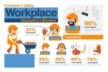accidente trabajo: Vector de infograf�a de seguridad y prevenci�n en el lugar de trabajo, Caja elementos planos de dise�o.