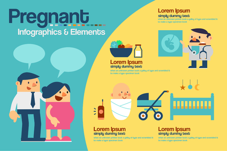expectant: Vector Illustration Pregnant Infographics and Elements Illustration