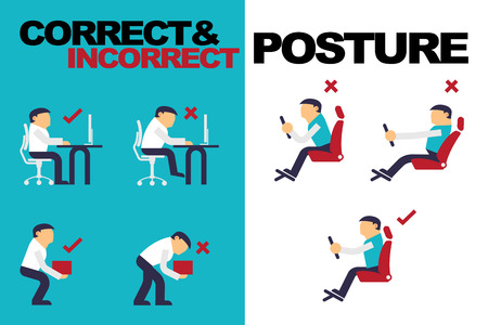 buena postura: Vector Ilustración sobre la correcta postura incorrecta y actividades en la rutina diaria, trabaja con un ordenador, levantamiento de pesas, que conduce un coche, diseño plano.