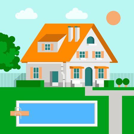 patio deck: Vector Illustration Family House Cartoon, Flat Design.