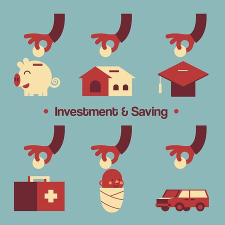 money management: Vector Illustration about Various Investment  Saving Present by Hands and Elements.