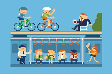 Ilustración de la gente de negocios y de ir al trabajo en metro, metro, y que se relaja en el parque, conceptos de negocio.