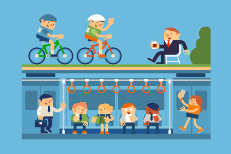 commute: Vector Illustration Business People and Commute to Work by Subway, Metro, and Relaxing in Park, Business Concepts.