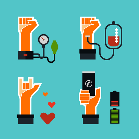 hold high: Vector Flat Design Icons Set 4 Hands Pose, Various Activity, Blood Pressure, Blood Donation, Love Hand, Hand Holding Mobile Phone.