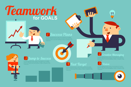 cute cartoons: Vector Infographics Business People Teamwork for Goals present by Cute Cartoons. Illustration