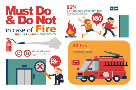 Vector Illustration Instruction for Peoples Safety in Fire or Emergency in Workplace.
