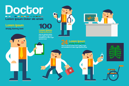 Vector Illustration Various Action Doctor, Character Posing Design, Healthcare and Medical Concepts. Stock Illustratie