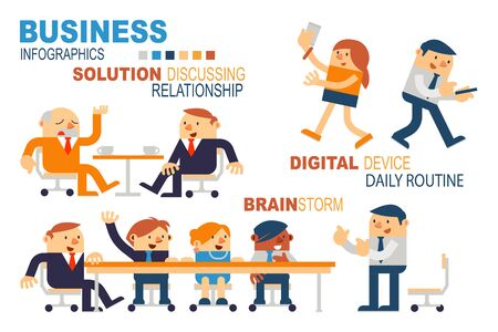 daily routine: Vector Illustration Business People Concepts, Brainstorm, Digital Device in Daily Routine and Solution Discussing, Relationship. Illustration