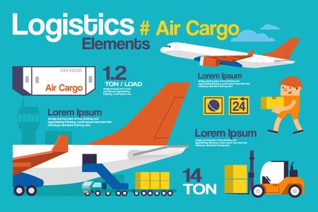 Illustrazione vettoriale logistica, Air Cargo Infografica ed elementi. Vettoriali