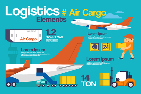 air cargo: Vector Illustration Logistic, Air Cargo Infographics and Elements. Illustration