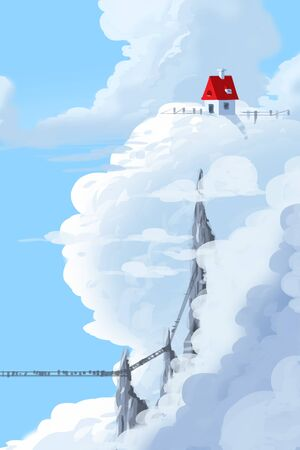 Digital illustration painting - a house above clouds and cliff rock.