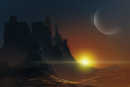 Digital illustration painting - aliens planet sci-fi style.