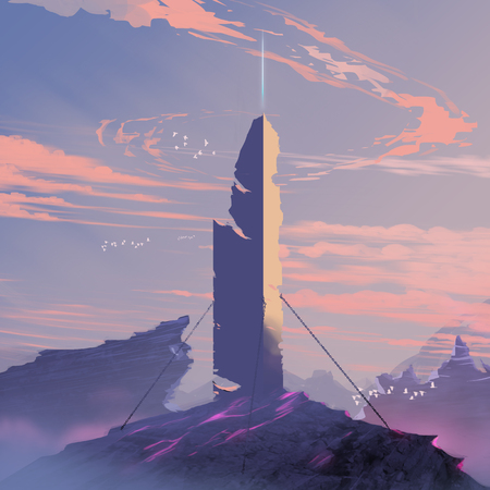 Digital illustration painting - sci-fi concept abandoned energy pole in sunset. Stock Photo