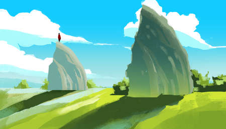 Digital illustration painting - a man standing on the huge rock and blue sky.