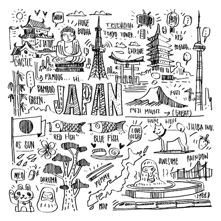 Vector famous landmarks and interest elements in JAPAN.