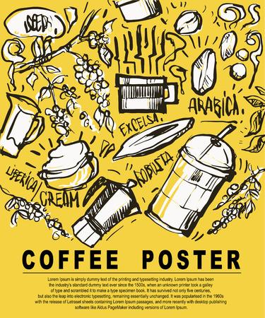 Poster or printing artwork about coffee and elements by illustration vector doodle design. Ilustração