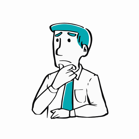 thoughtful: A businessman thinking ideas and something, strategy working concept. Illustration