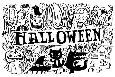 Vector Ghosts and monsters of gang of Halloween, doodle characters design.