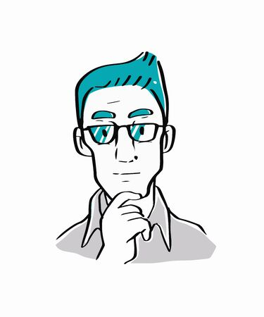 ceo: A businessman thinking ideas and something, strategy working concept. Illustration