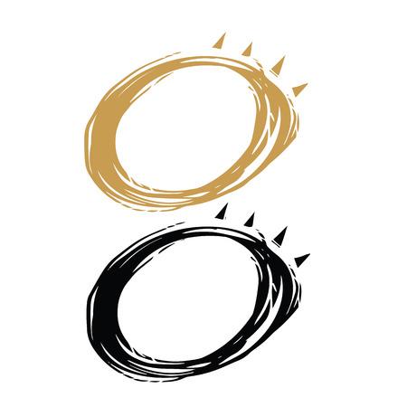 Hand drawn 2 colors minimalist solar eclipse, illustrator vector logo design.