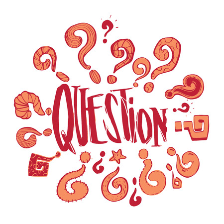 Hand drawn question phases and question marks collection set, business problems and solution concept, illustration vector design.