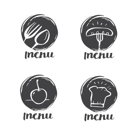 Hand getrokken kalligrafie koken, keuken, pictogram en label voor ontwerp menu restaurant of café, illustratie belettering van ontwerp. Stock Illustratie