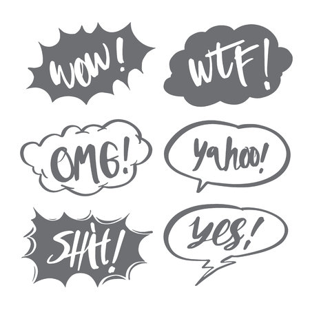 Hand drawn comic speech bubbles and calligraphy set with different emotions and text Wow, WTF, OMG, Shit, Yes, Yahoo, Vector bright dynamic cartoon illustrations isolated on white background.