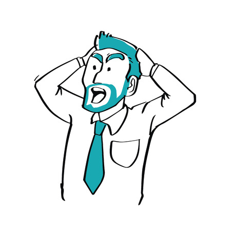 strangled: Hand drawn doodle style businessman chocked facial expression, business concept.