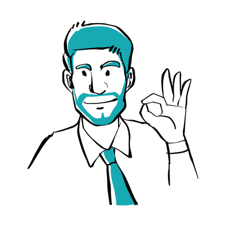 Hand drawn doodle style a businessman showing OK sign, business concept.