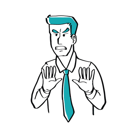 desprecio: Hand drawn doodle style a businessman is disgusted, illustration vector business concept. Vectores