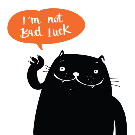 13th: Illustration vector doodle style a black cat and i am not bad luck in balloon speech, cartoon design.