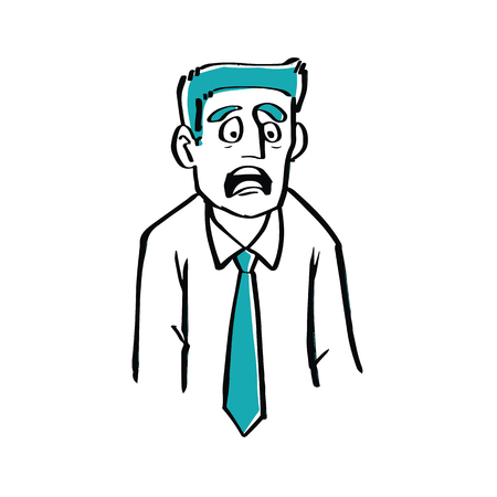 Hand drawn of scared businessman illustration in doodle style.