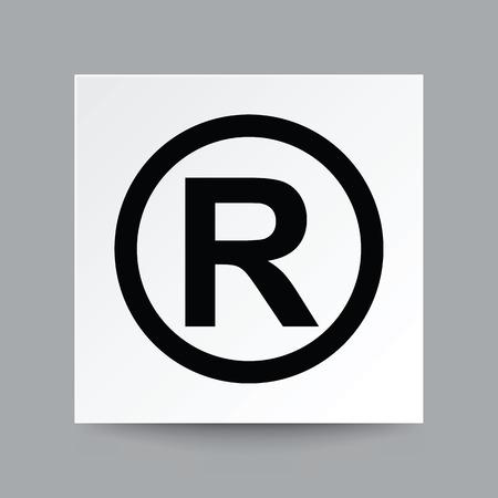 저작권 기호, 진짜 그림자와 흰색 사각형 종이에 그림 벡터.