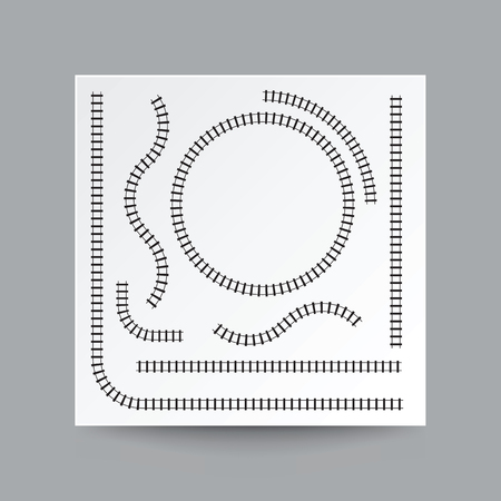 Railway curve, straight, circle, arc, collection set, illustration vector blank white square paper on transparent and real shadow. Иллюстрация